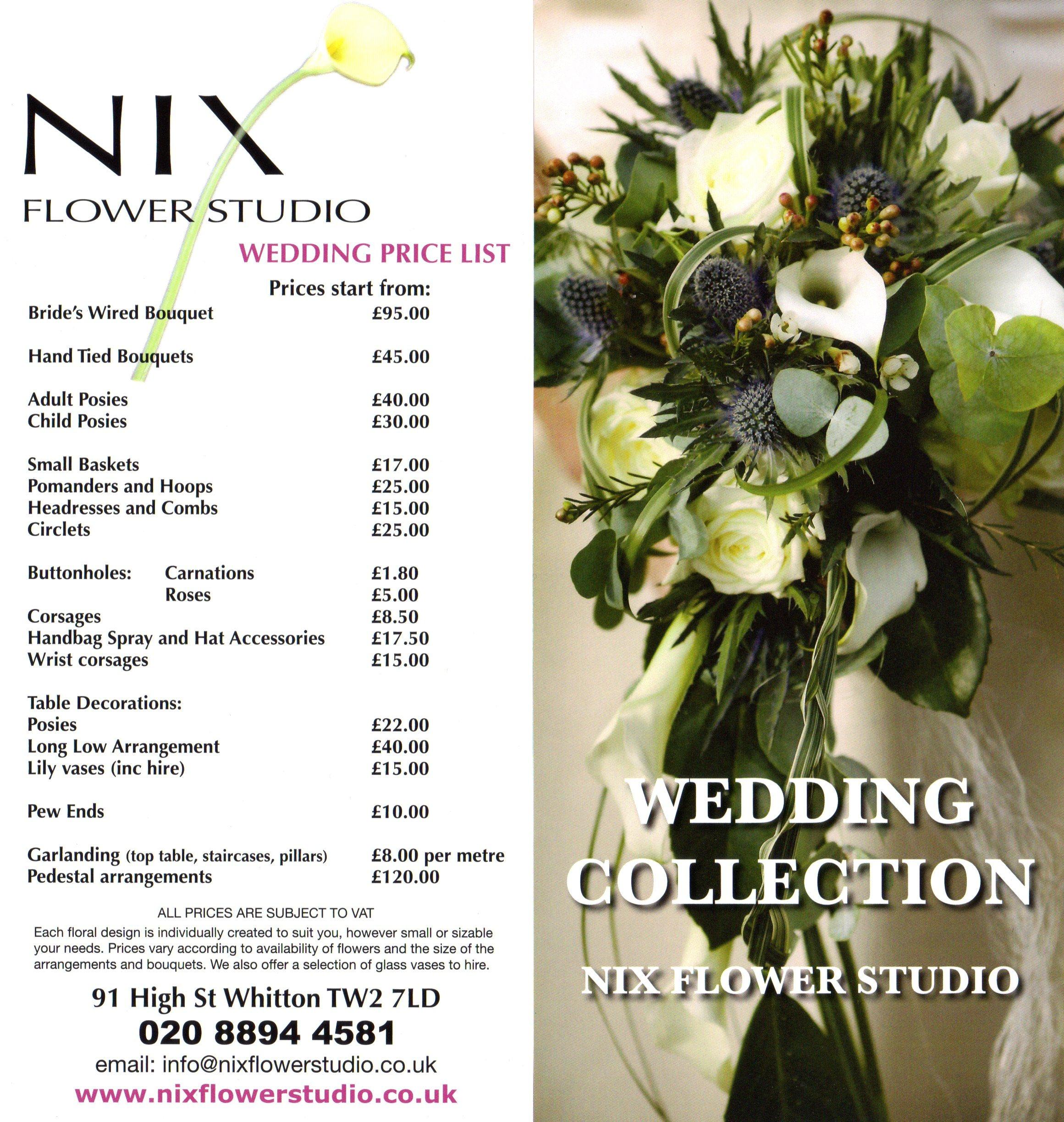 Prices Of Wedding Flowers: Nix Flower Studio