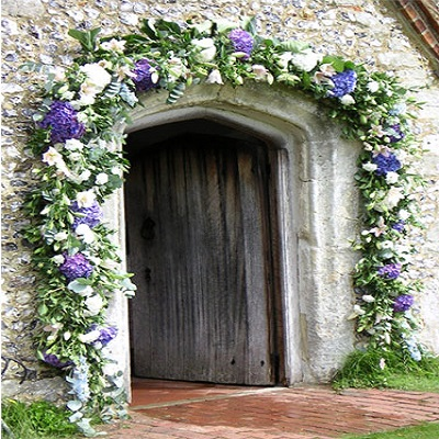 Archway of summer flowers