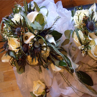 Handtied bouquet with a trail of calla lilys, thistle, waxflower and cream roses