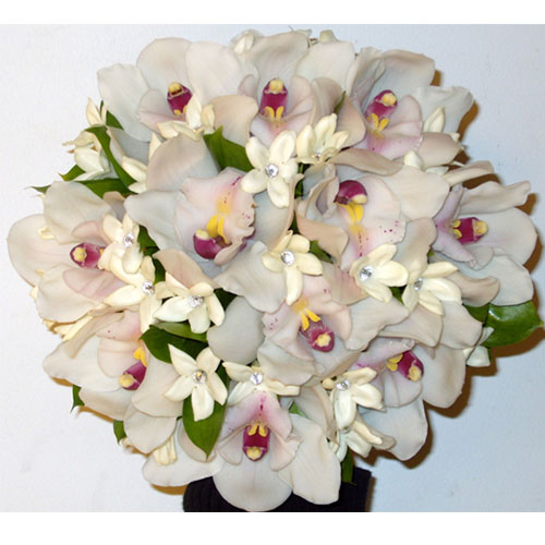 Wired posy of Cymbidium orchids and stephanotis